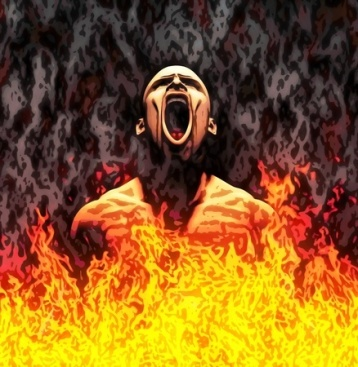 10751370 - painted illustration of a screaming man in flames